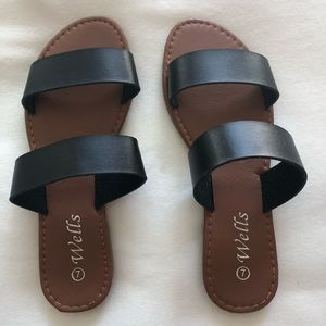 Slip on vegan leather sandals- never worn